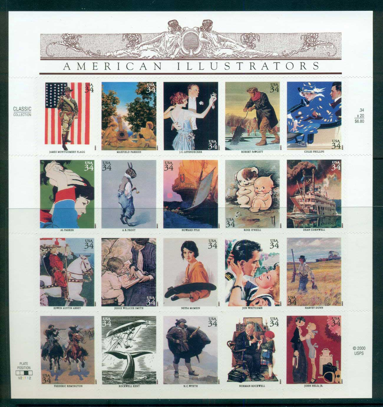 USA 2001 Sc#3502 American Illustrators Pane 20 MUH lot53762