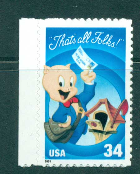 USA 2001 Sc#3534a Porky Pig at Mailbox MUH lot53768