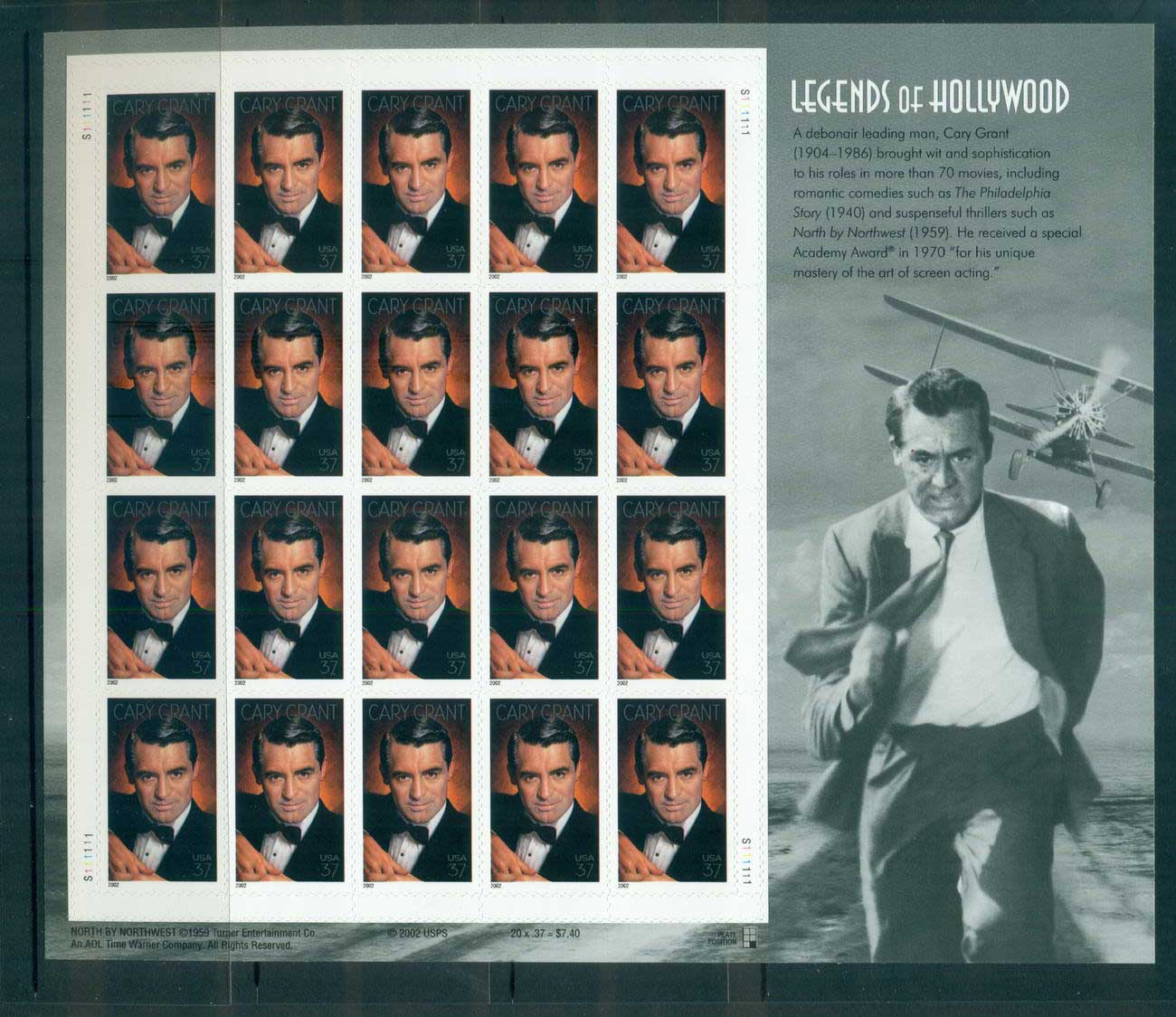 USA 2002 Sc#3692 Cary Grant Pane 20 MUH lot53832