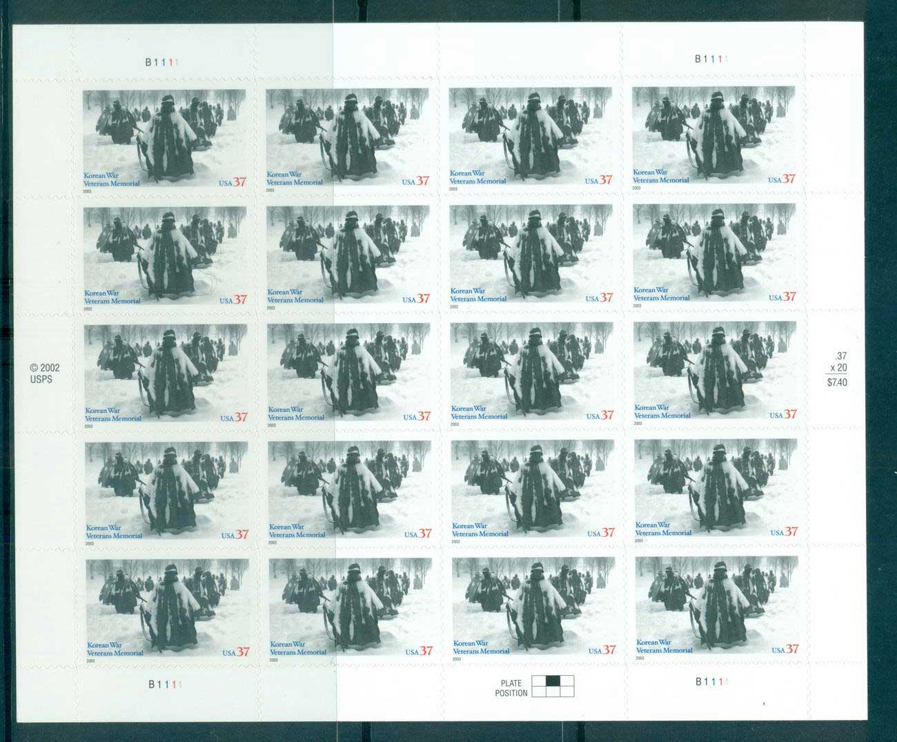 USA 2003 Sc#3803 Korean War Veterans Pane 20 MUH lot53887