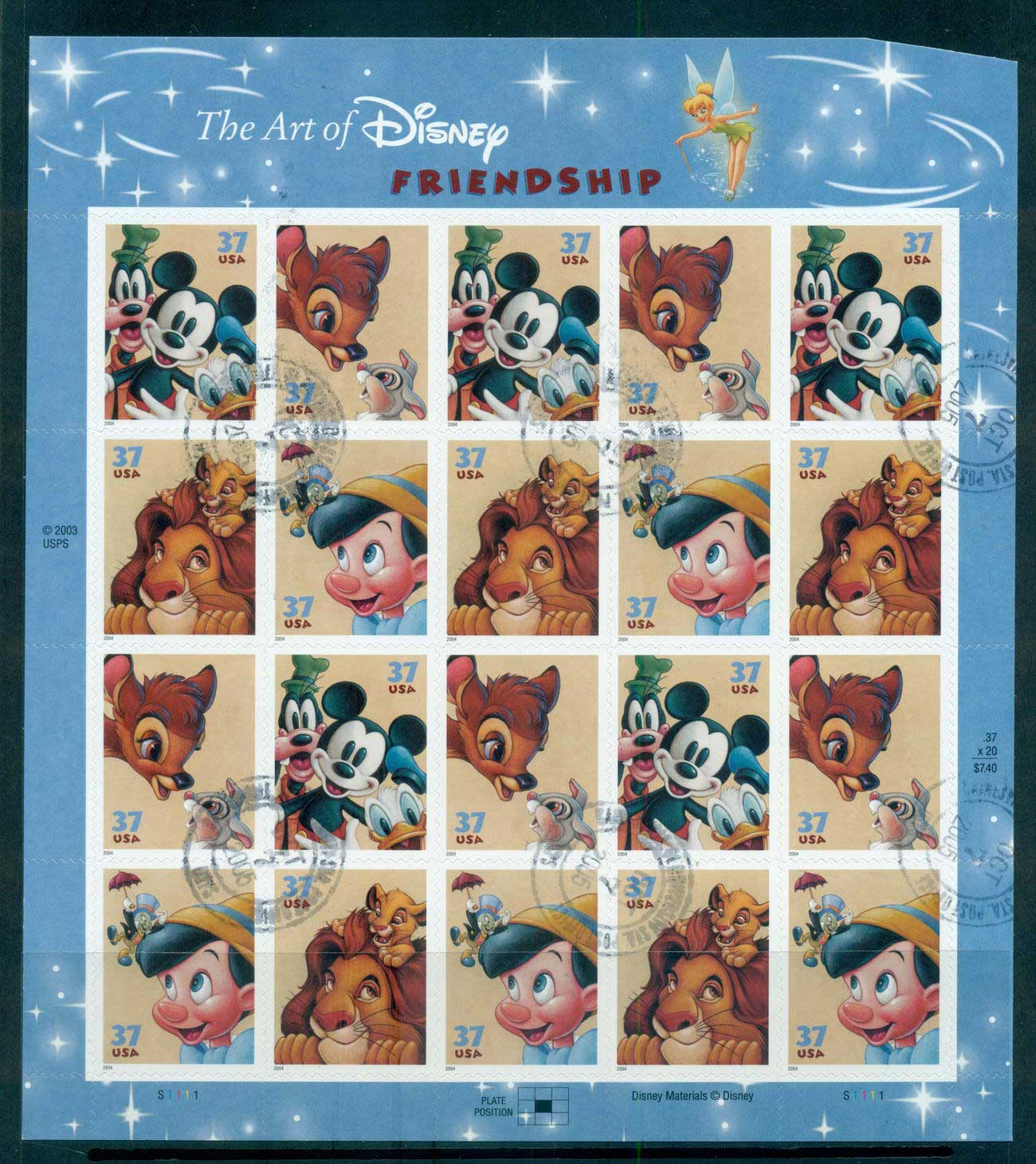 USA 2004 Sc#3865-68 Disney Characters Pane 20 (cut TR corner)FU lot539231