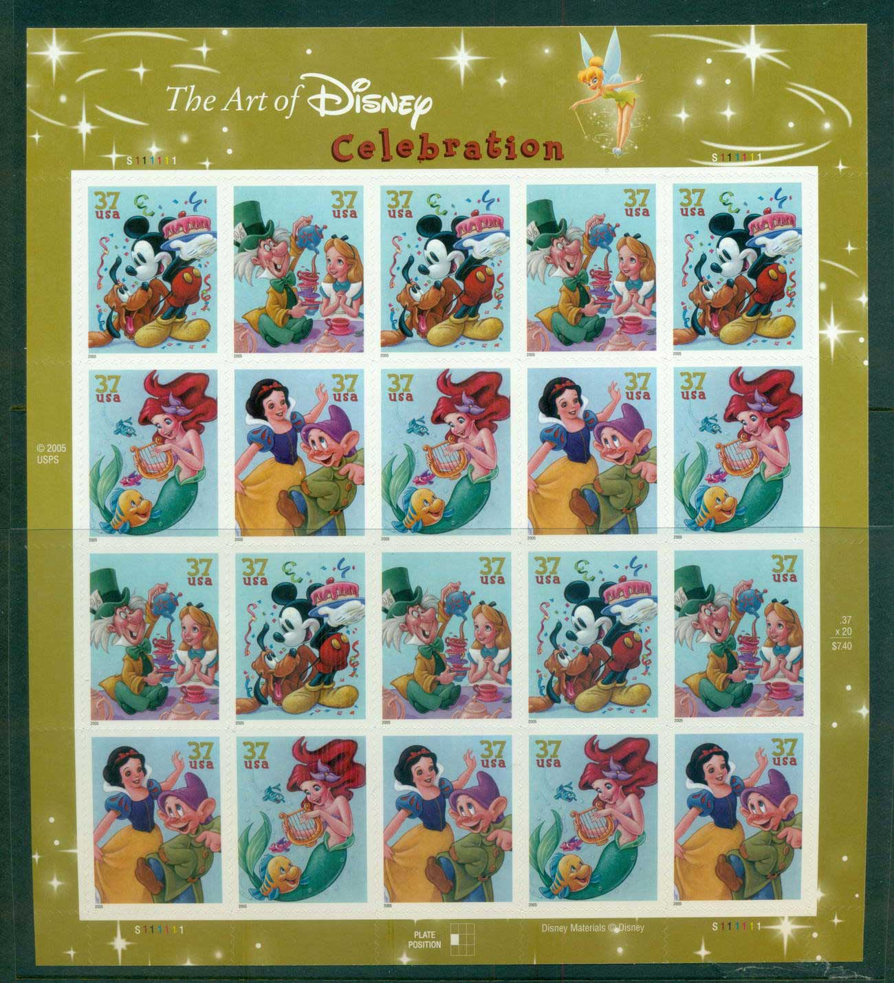 USA 2005 Sc#3912-15 Disney Characters pane 20 MUH lot53981