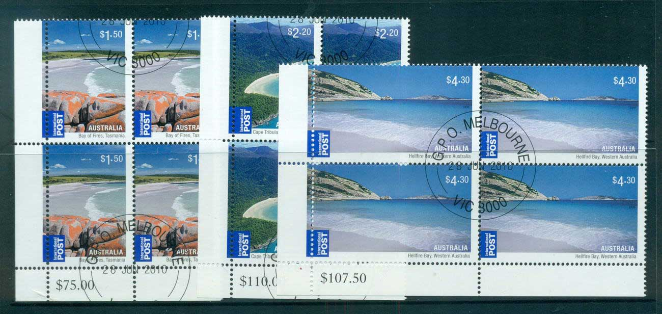 Australia 2010 Beaches Internationals 3x Corner Blocks 4 CTO, lot54215