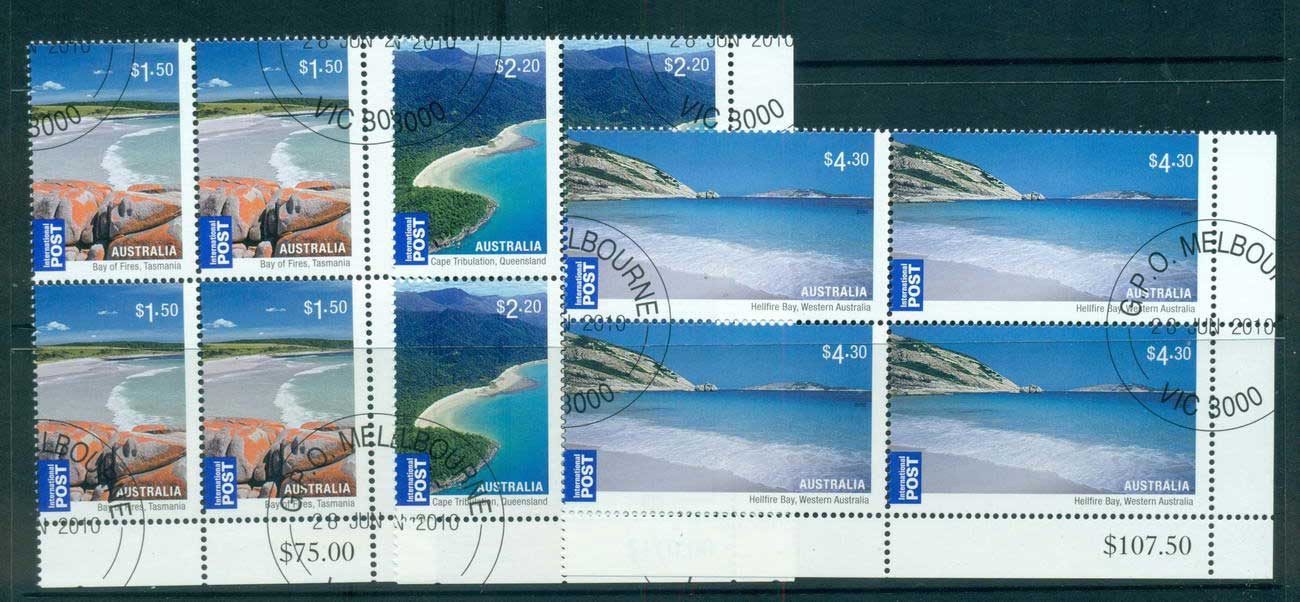 Australia 2010 Beaches Internationals 3x Corner Blocks 4 CTO, lot54216