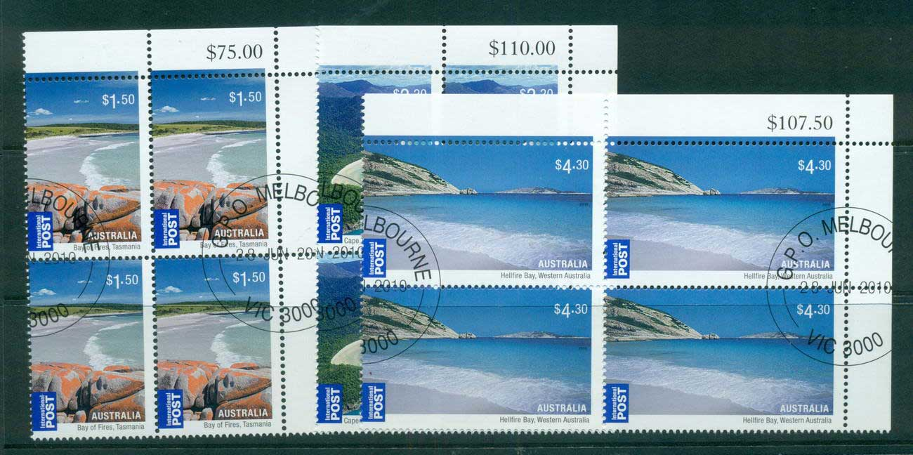 Australia 2010 Beaches Internationals 3x Corner Blocks 4 CTO, lot54217