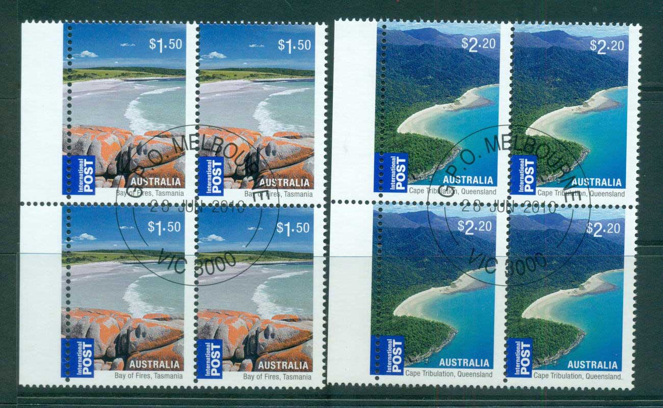 Australia 2010 Beaches Internationals $1.50, $2.20 Blocks 4 CTO, lot54220