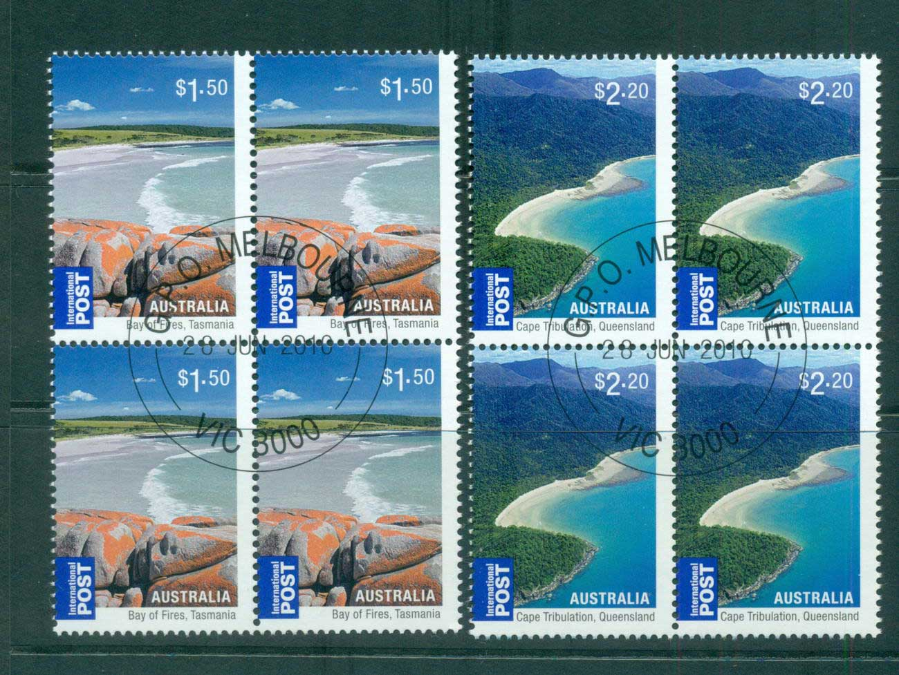 Australia 2010 Beaches Internationals $1.50, $2.20 Blocks 4 CTO, lot54221