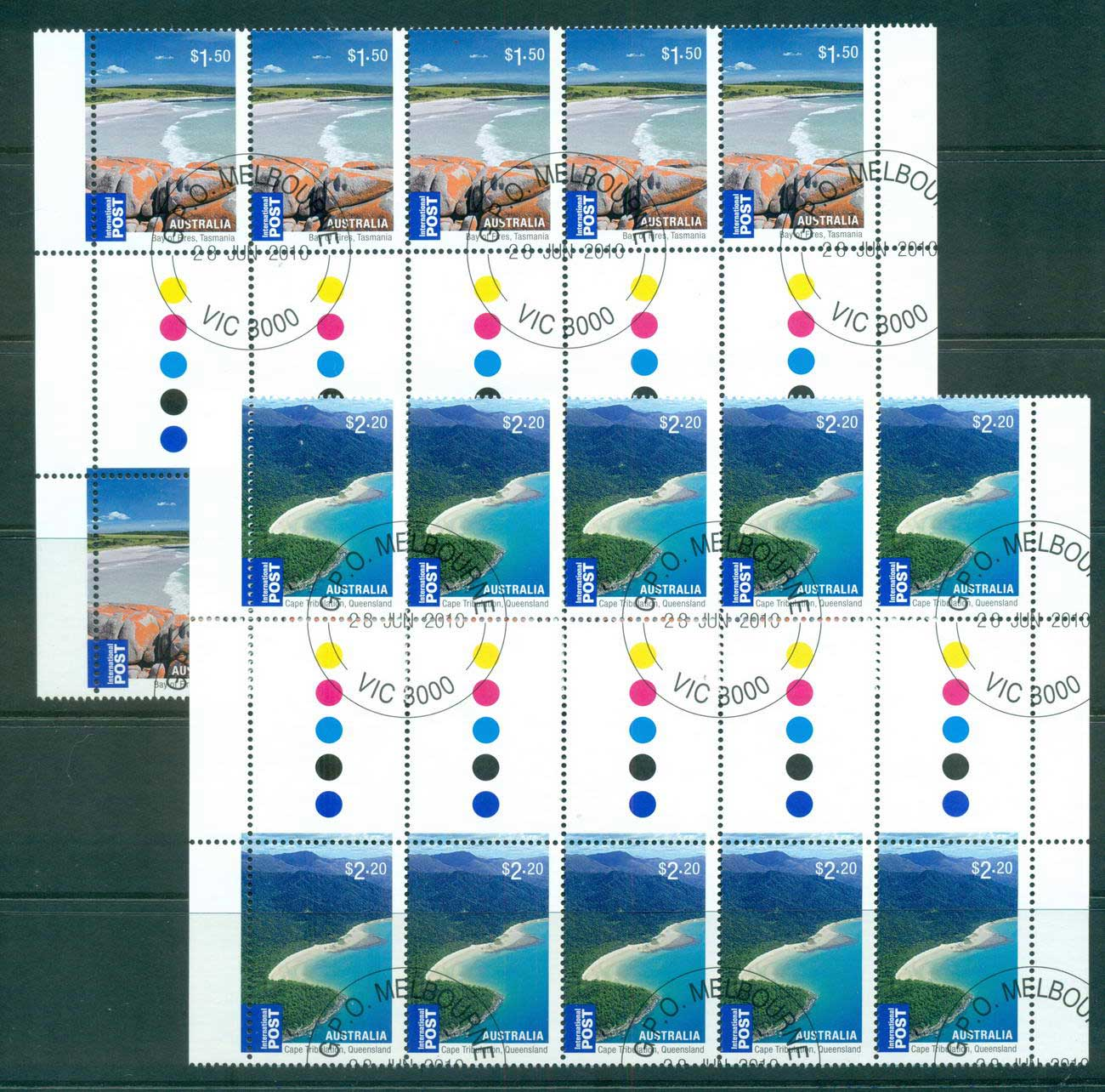Australia 2010 Beaches Internationals $1.50, $2.20 Gutter Blocks 10 CTO, lot54223