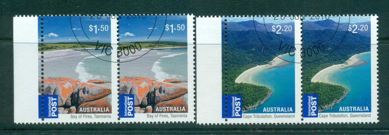 Australia 2010 Beaches Internationals $1.50, $2.20 Pairs CTO, lot54224
