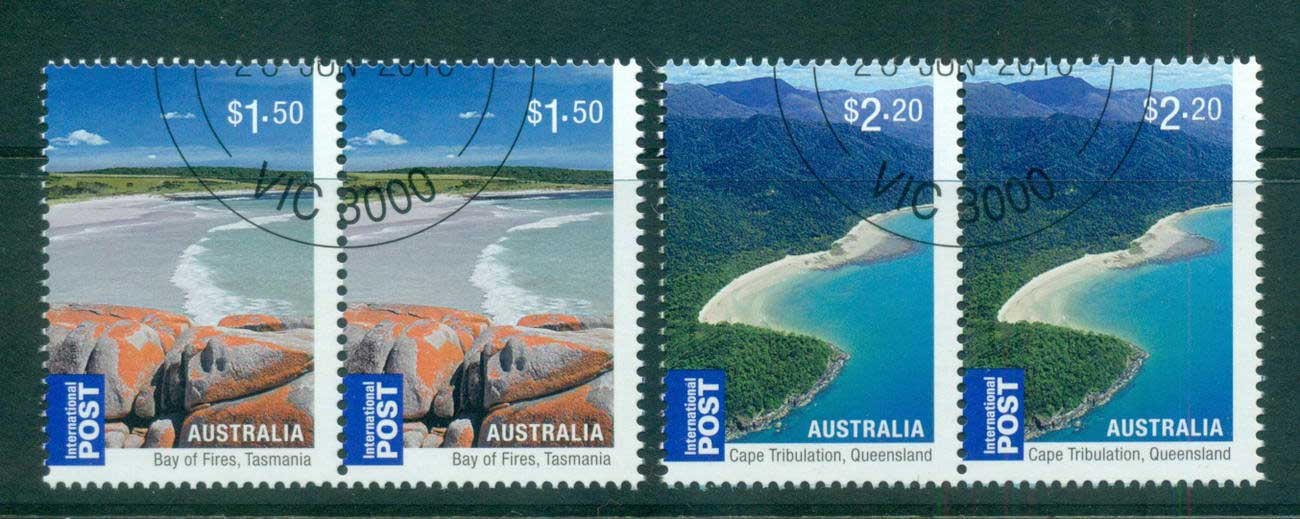 Australia 2010 Beaches Internationals $1.50, $2.20 Pairs CTO, lot54225