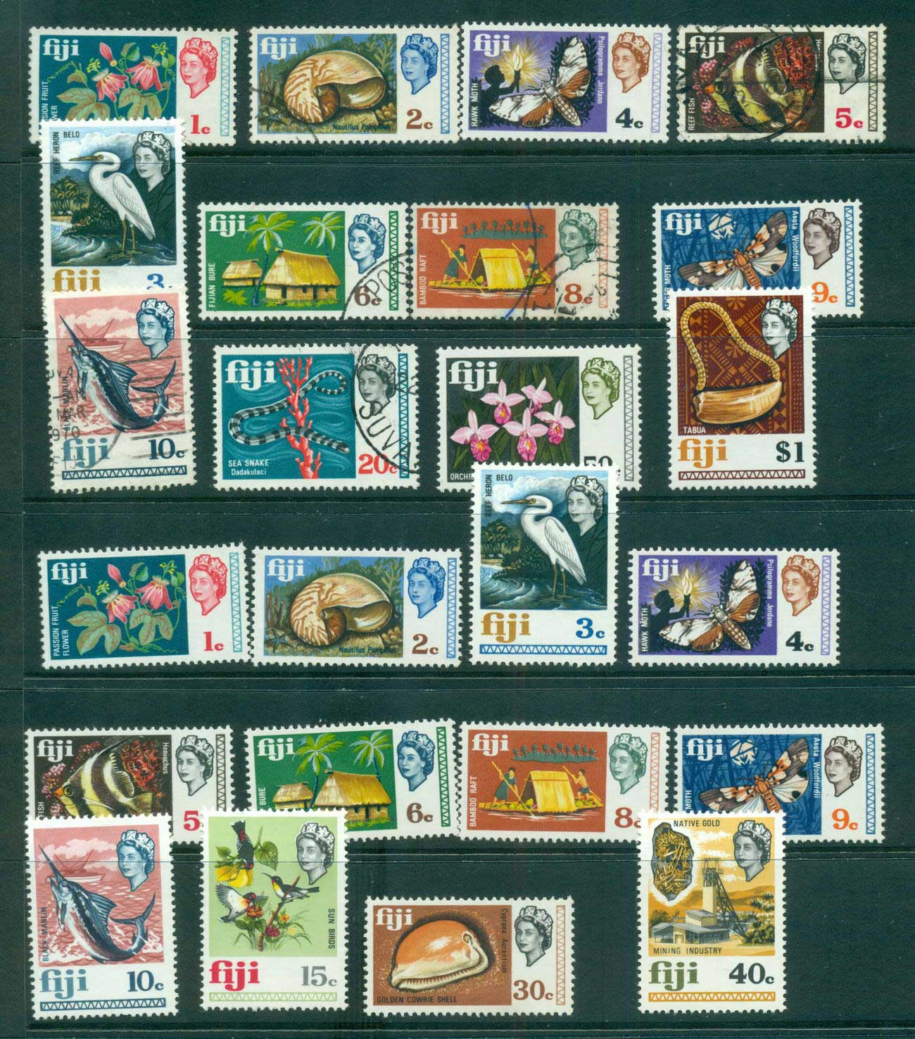 Fiji 1969 Decimal Definitives Assorted MUH/MLH/FU lot54299