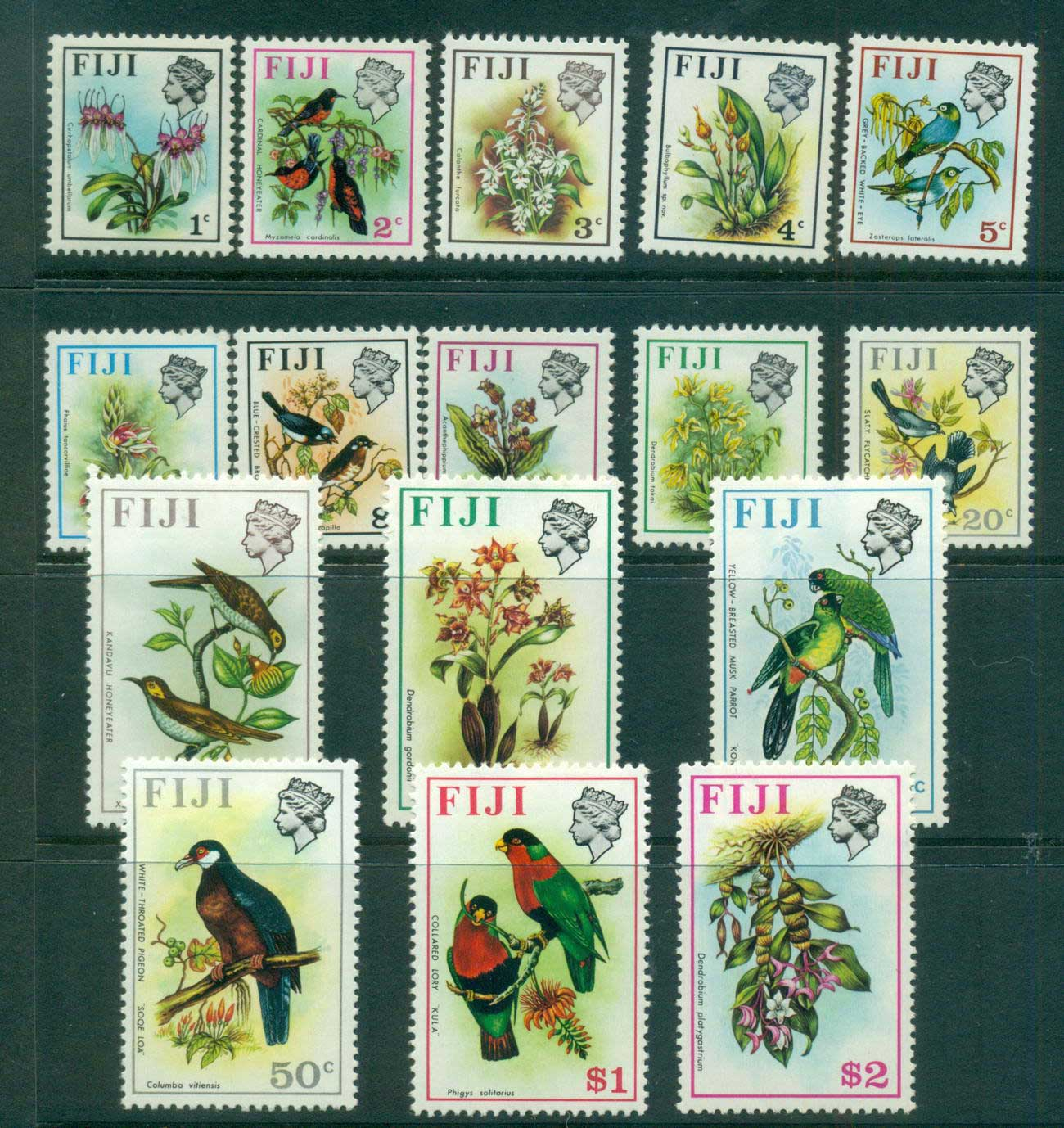 Fiji 1971-72 Birds & Flowers (16) Wmk upright MLH lot54312