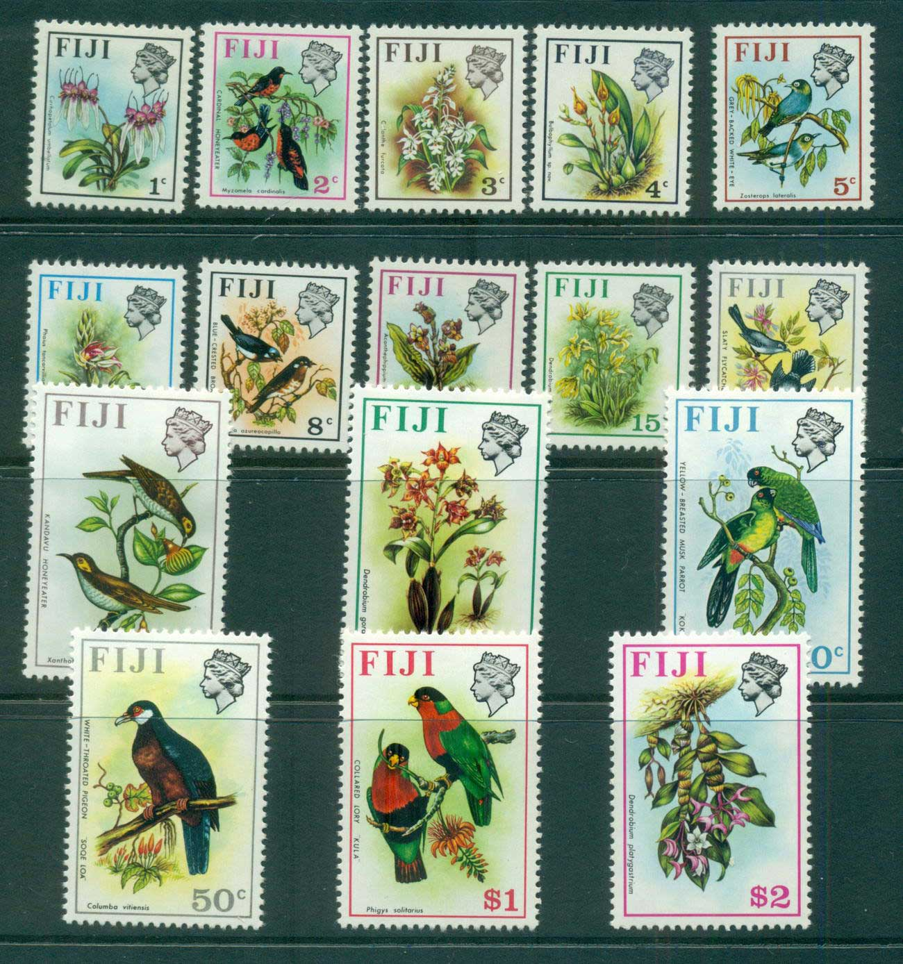 Fiji 1971-72 Birds & Flowers (16) Wmk upright MUH lot54313