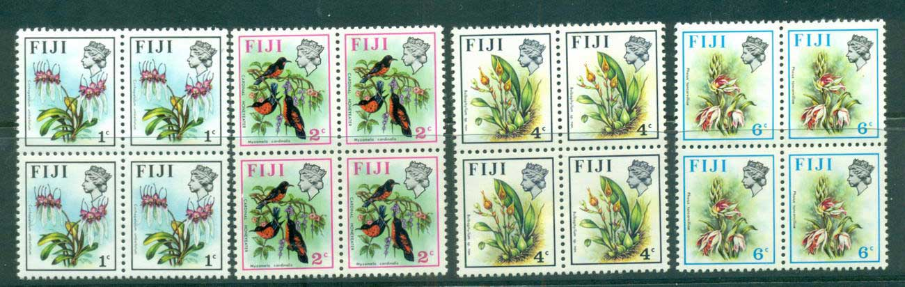 Fiji 1972-74 Birds & Flowers (4, 2c crease)Sideways Blks 4 MUH lot54314