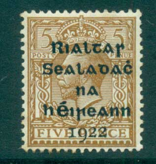 Ireland 1922 5d yel brown Provisional Opt. Blk Dollard MLH lot54496