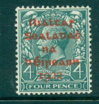 Ireland 1922 4d slate green Provisional Opt. Red Dollard MLH lot54499