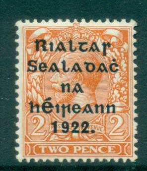 Ireland 1922 2d orange Provisional Opt. Blk Thom MLH lot54504