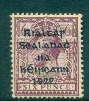 Ireland 1922 6d red violet Provisional Opt. Blk Thom MLH lot54507