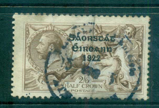 Ireland 1922 2/6d Seahorse Provisional Opt. Blk. Irish Free State 3 lines (vert. crease) FU lot54522