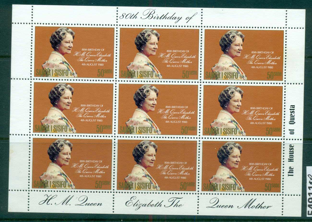 Samoa 1980 Queen Mother 80th Birthday Sheetlet MUH lot54911