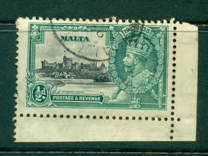 Malta 1935 Silver Jubilee 1/2d Broken Flag Pole FU lot55014