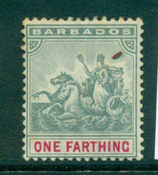 Barbados 1896 One farthing slate & carmine MH lot55022