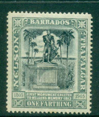Barbados 1906 One Farthing Nelson Centenary MLH lot55025