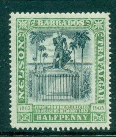 Barbados 1906 1/2d Nelson Centenary MLH lot55026