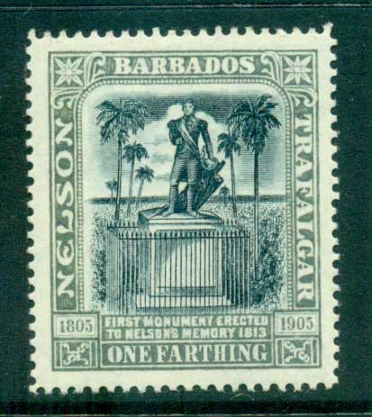 Barbados 1906 One Farthing Nelson Centenary MLH lot55029
