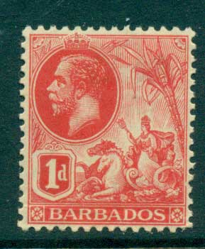 Barbados 1912 1d carmine KGV MLH lot55030