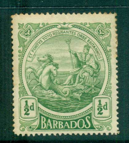 Barbados 1916-18 1/2d Seal of the Colony (tones) MLH lot55032
