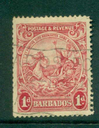 Barbados 1925-35 1d Seal of the Colony Perf 13.5x 12.5 ex booklet FU lot55040