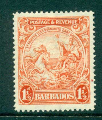Barbados 1925-35 1 1/2d Seal of the Colony MLH lot55041