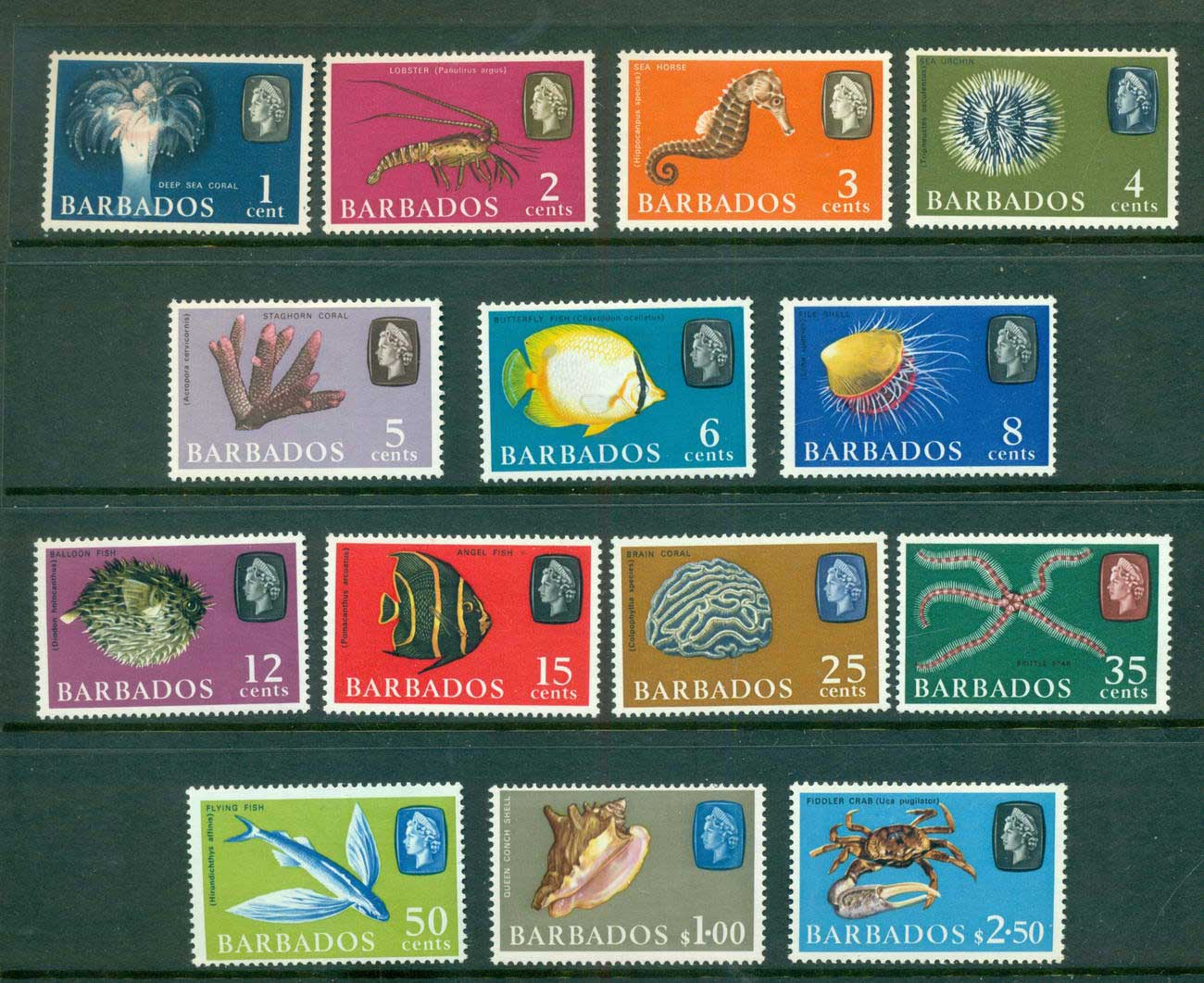 Barbados 1965 Fish Defins Wmk Upright MLH lot55059