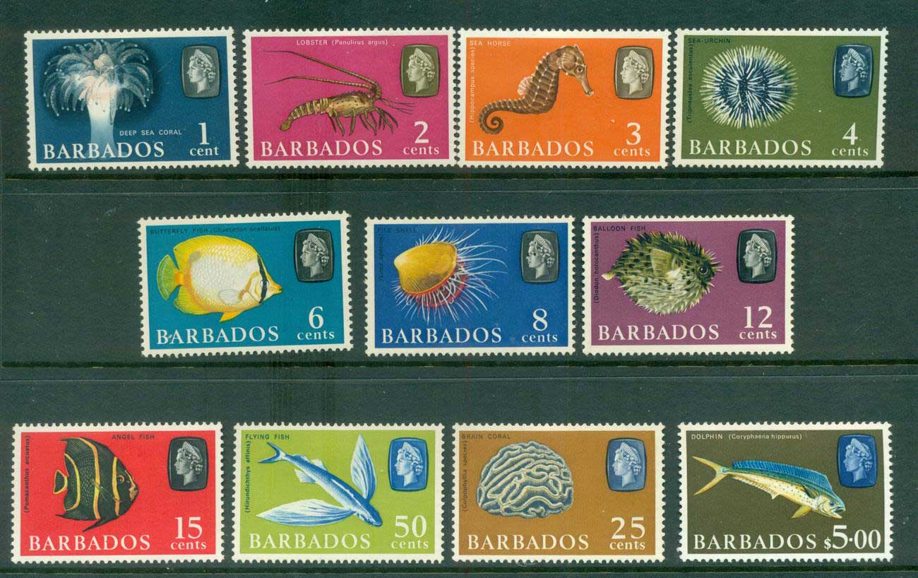 Barbados 1966-69 Fish Defins Wmk Sideways Asst (11/15) MLH lot55060