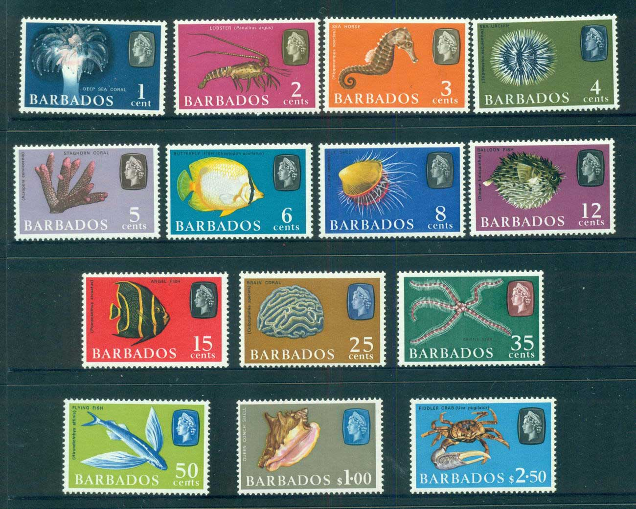 Barbados 1965 Fish Defins Wmk Upright MLH lot55080