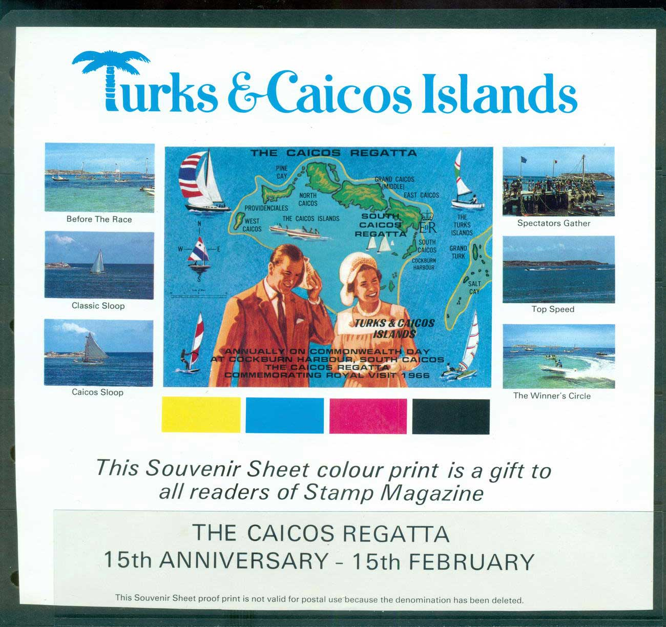 Turks & Caicos Is 1966 Tourism yachts, Souvenir Sheet, Private Issue, non demominated. MUH Lot55111