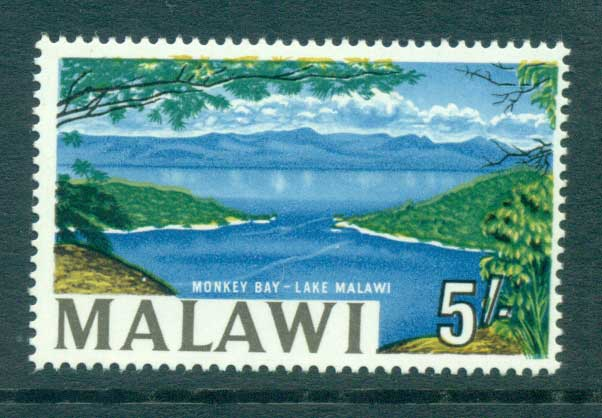 Malawi 1965 5/- Monkey bay, Lake Nyassa redrawn MLH Lot55254