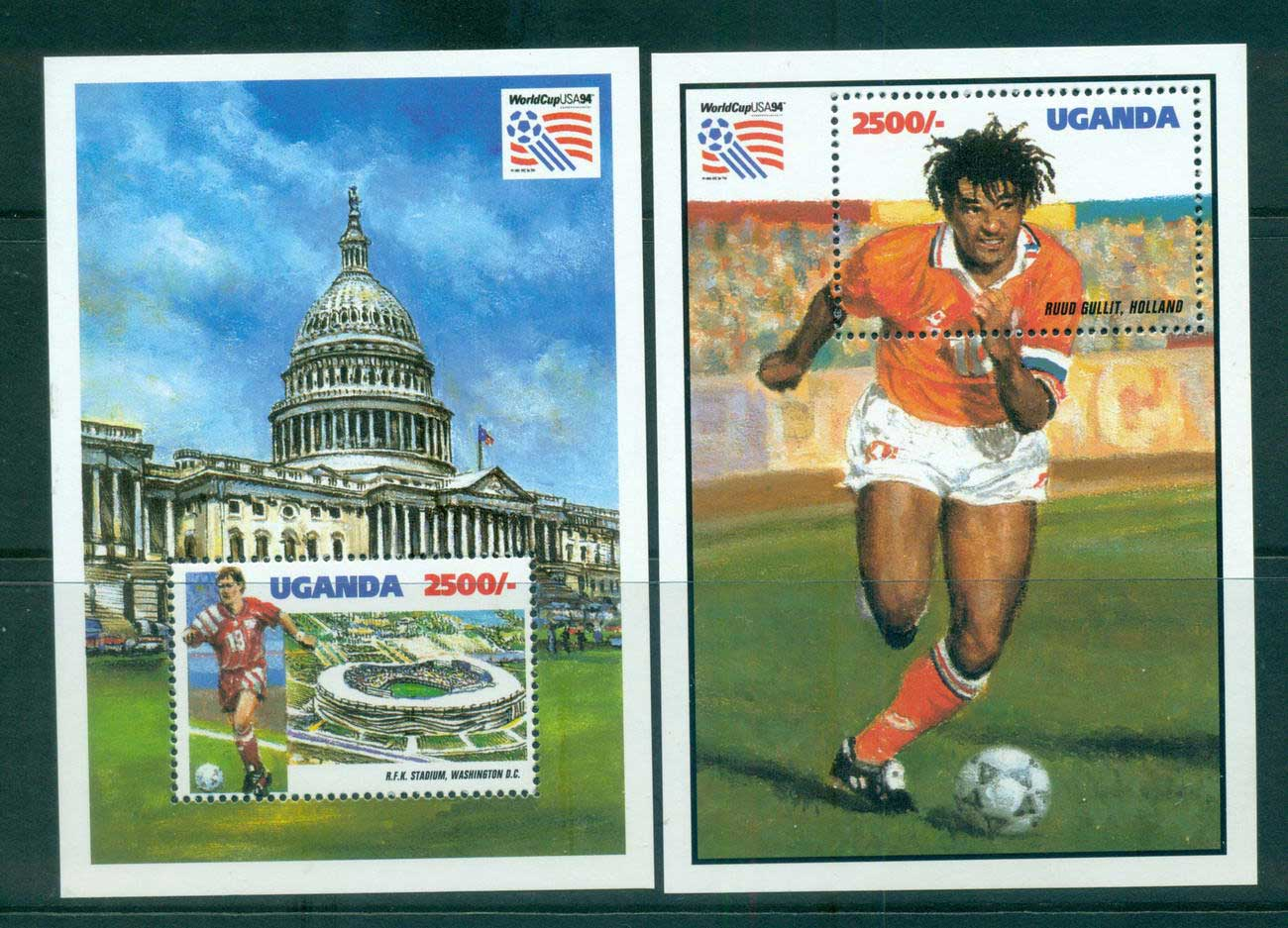 Uganda 1993 World Cup Soccer 2x MS MUH Lot55282