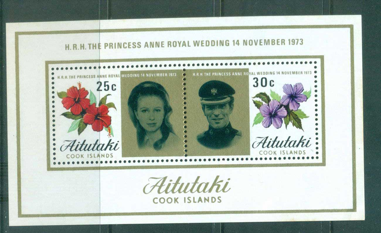 Aitutaki 1973 Royal Wedding Princess Anne MS MUH Lot55316