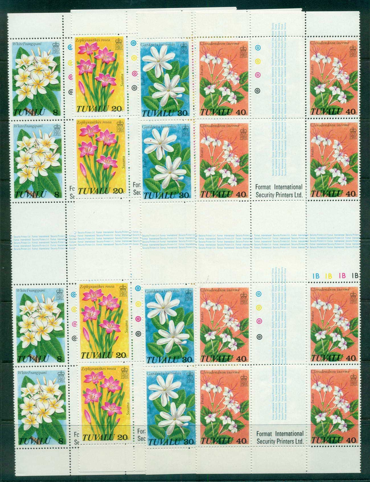 Tuvalu 1978 Wild Flowers Cross Gutter blk MUH lot56244