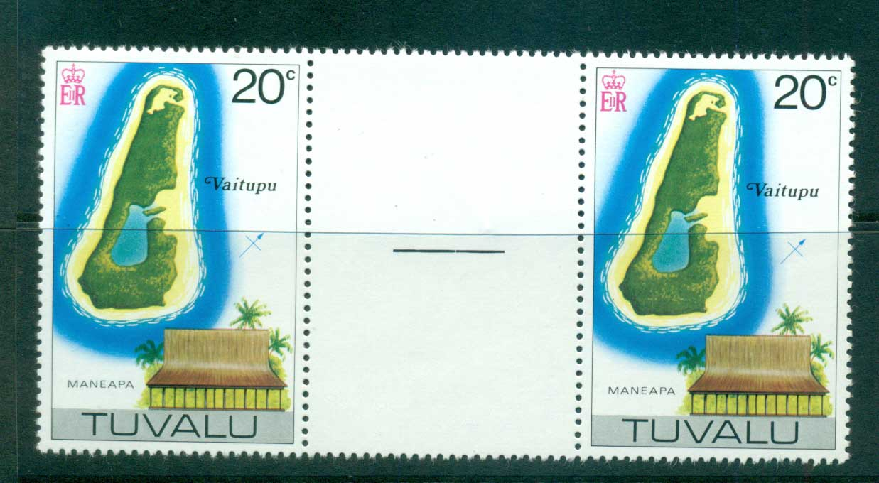 Tuvalu 1978 20c Map Reissue No Wmk Gutter pair MUH lot56245