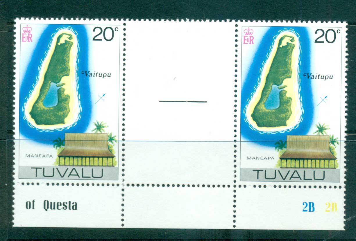 Tuvalu 1978 20c Map Reissue No Wmk Gutter pair MUH lot56246