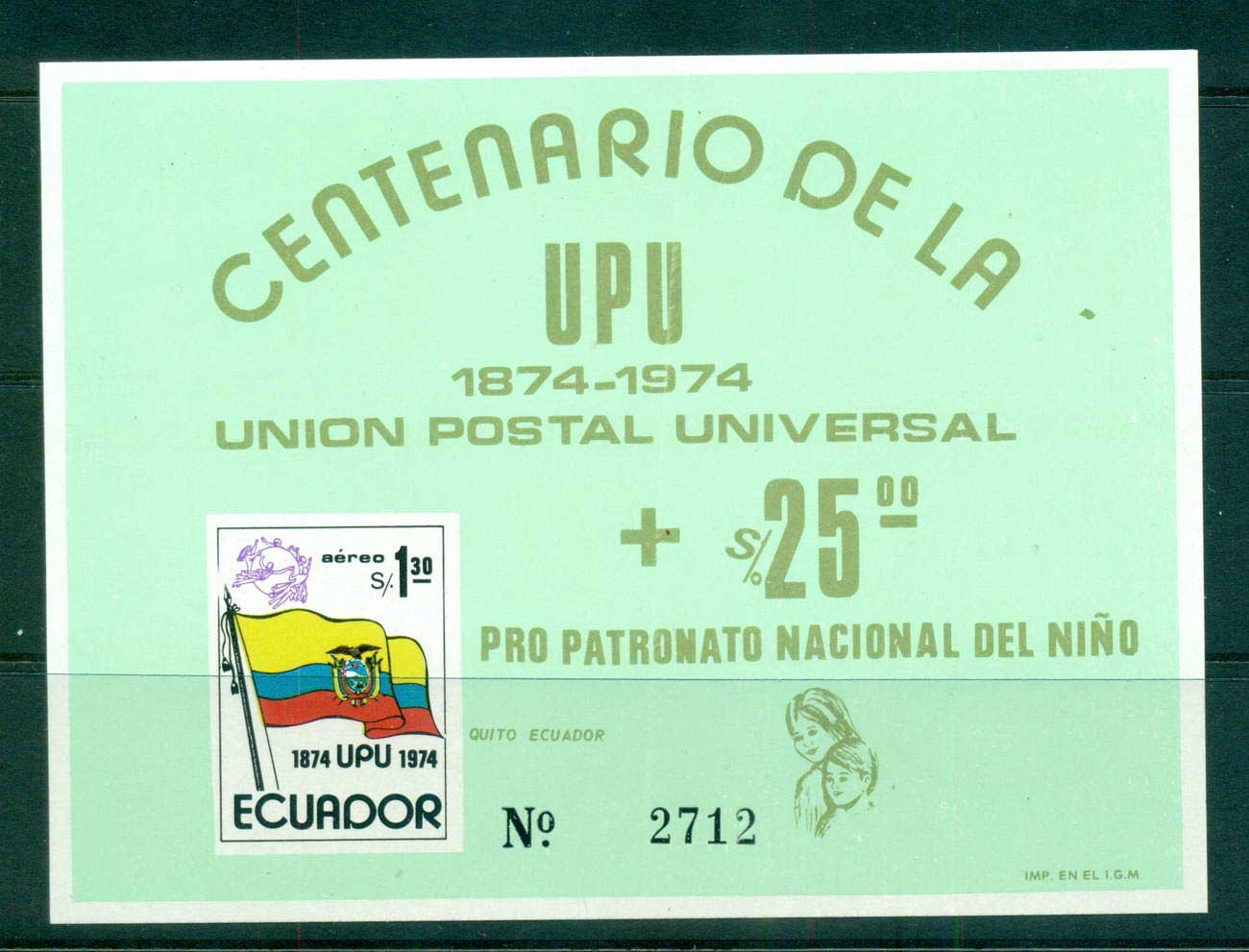 Ecuador 1974 UPU Centenary green MS MUH lot56356