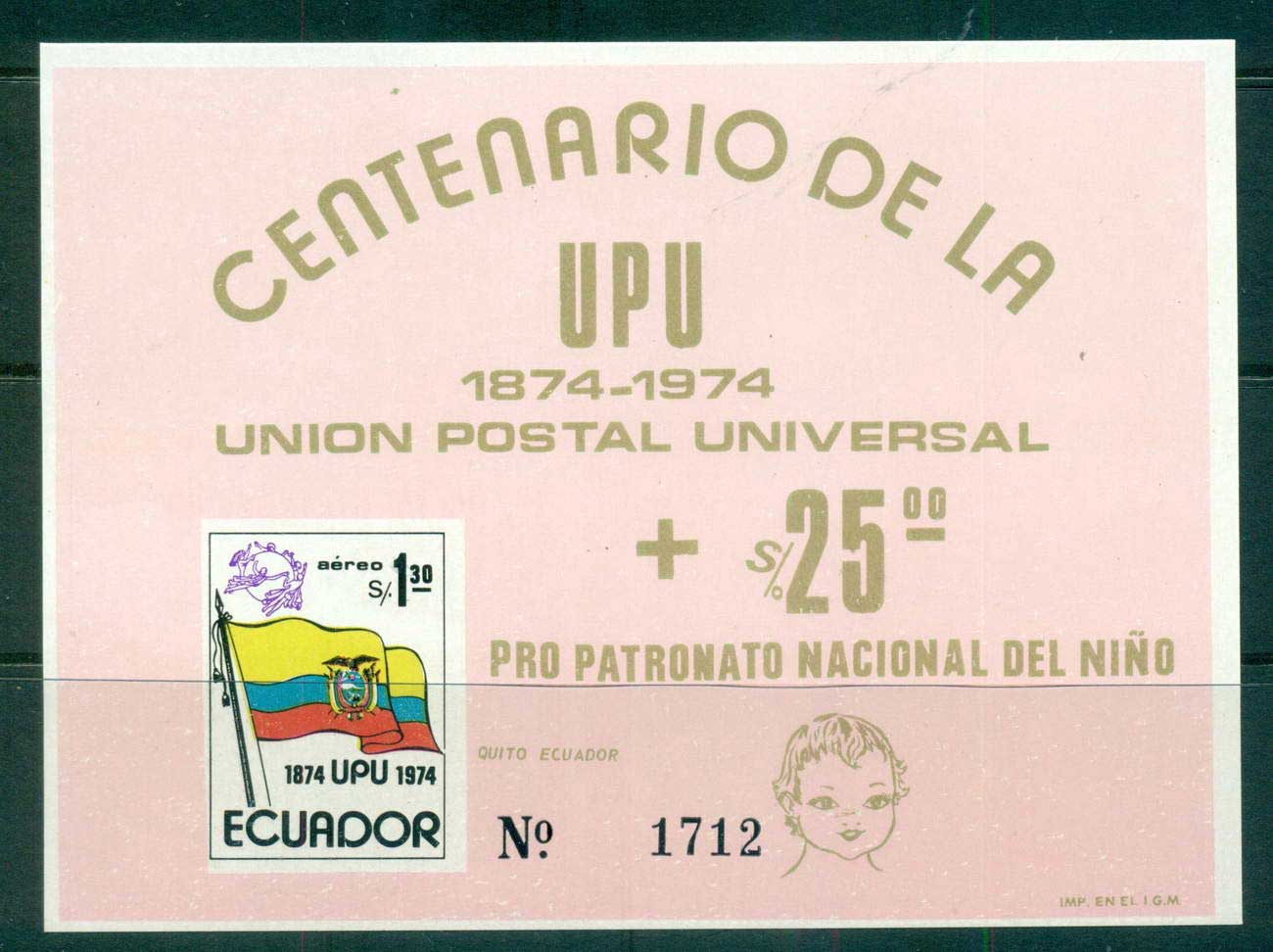 Ecuador 1974 UPU Centenary pink MS MUH lot56357