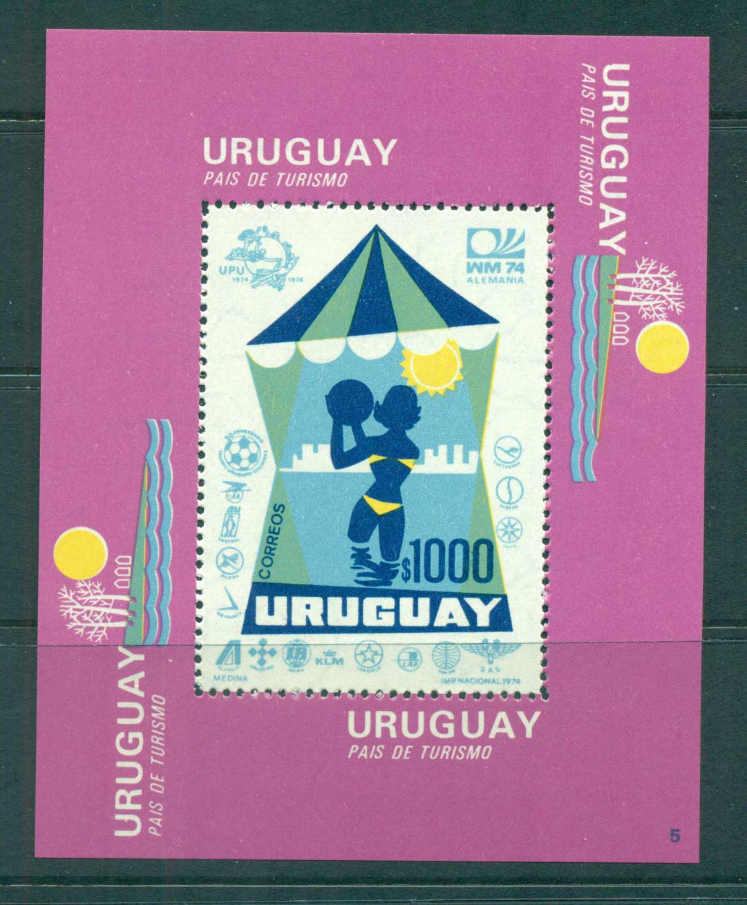 Uruguay 1974 UPU Centenary/Tourism MS MUH lot56360