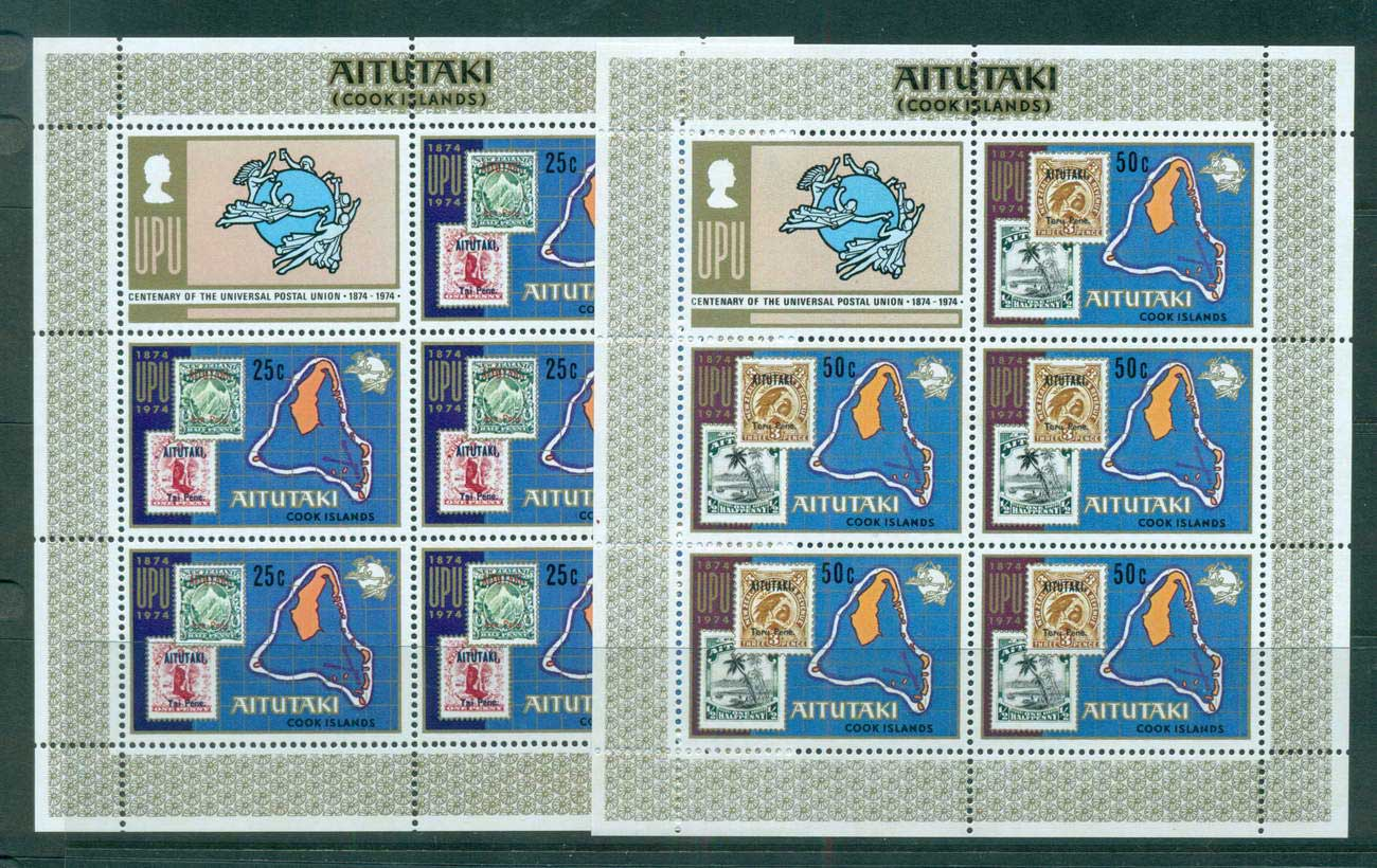 Aitutaki 1974 UPU Centenary Sheetlets + label MUH lot56485