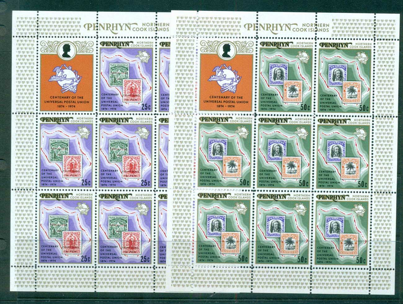 Penrhyn Is 1974 UPU Centenary Sheetlets + label MUH lot56491