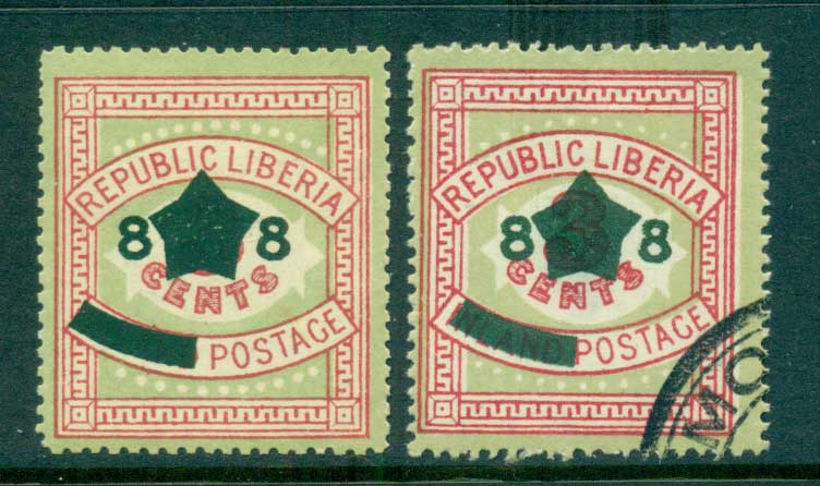 Liberia 1913 8c Opt on 3c Numerals TI, MLH, TII CTO lot56663