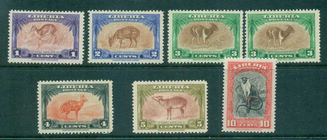 Liberia 1942 Wildlife, Deer, Monkey MLH lot56683